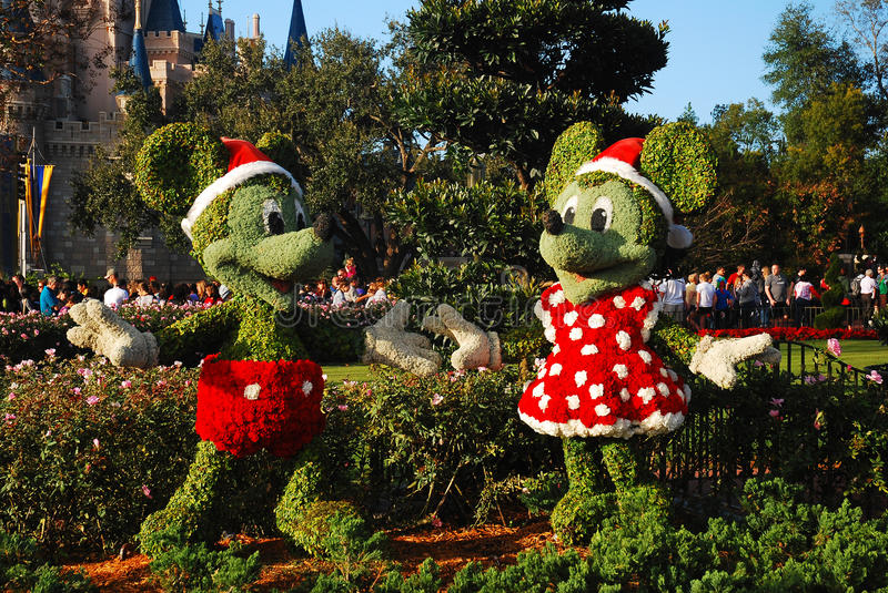 Kerstmis Mickey en Minnie royalty-vrije stock foto's