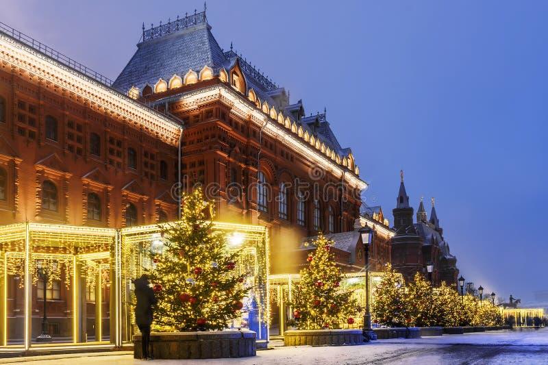 Kerstmis in Moskou Nieuwjaar` s decoratie dichtbij historisch m royalty-vrije stock fotografie