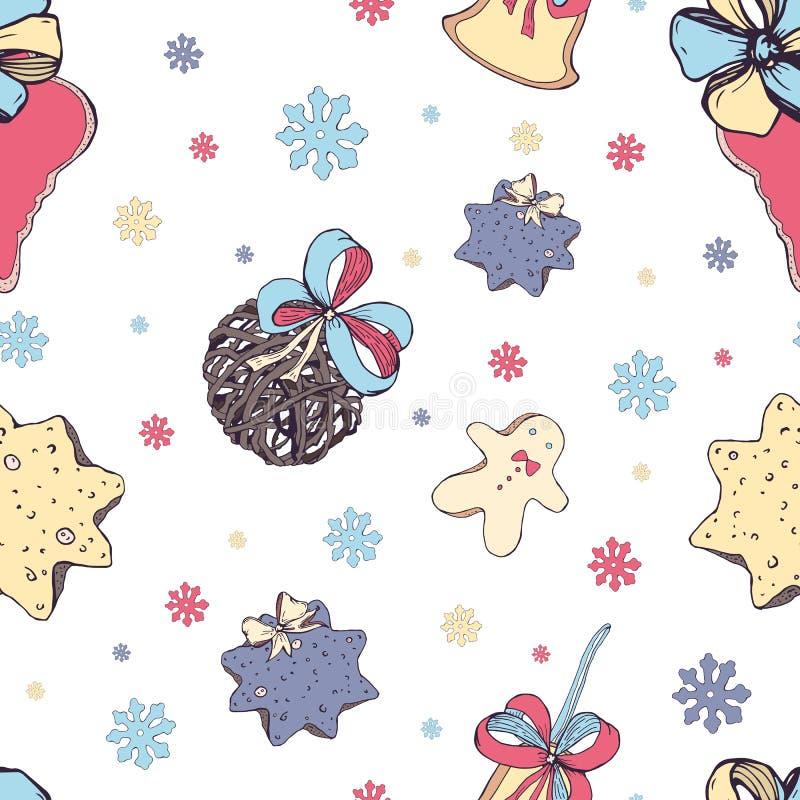 Kerstmis naadloos patroon met elementen van traditioneel decor: snoepjes en speelgoed, koekje, klok en bogen op wit stock illustratie