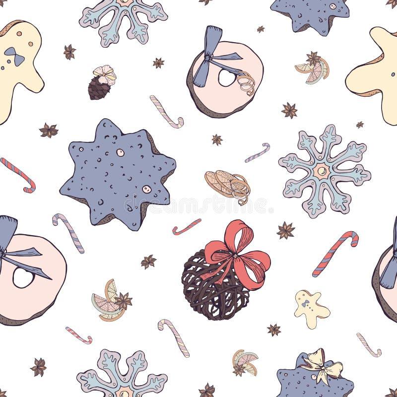 Kerstmis naadloos patroon met elementen van traditioneel decor: snoepjes en speelgoed, koekje, steranijsplant op witte achtergron royalty-vrije illustratie
