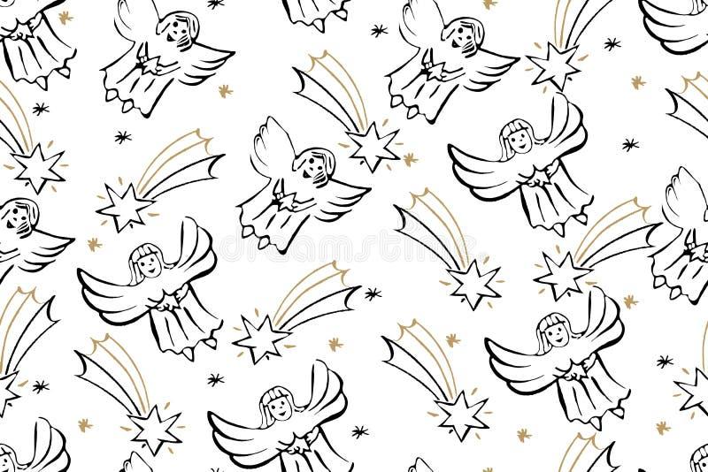 Kerstmis Naadloos Patroon met Engelen en Kerstster Ve vector illustratie