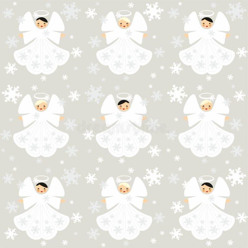 Kerstmis naadloos patroon met engelen en sneeuwvlokken royalty-vrije illustratie