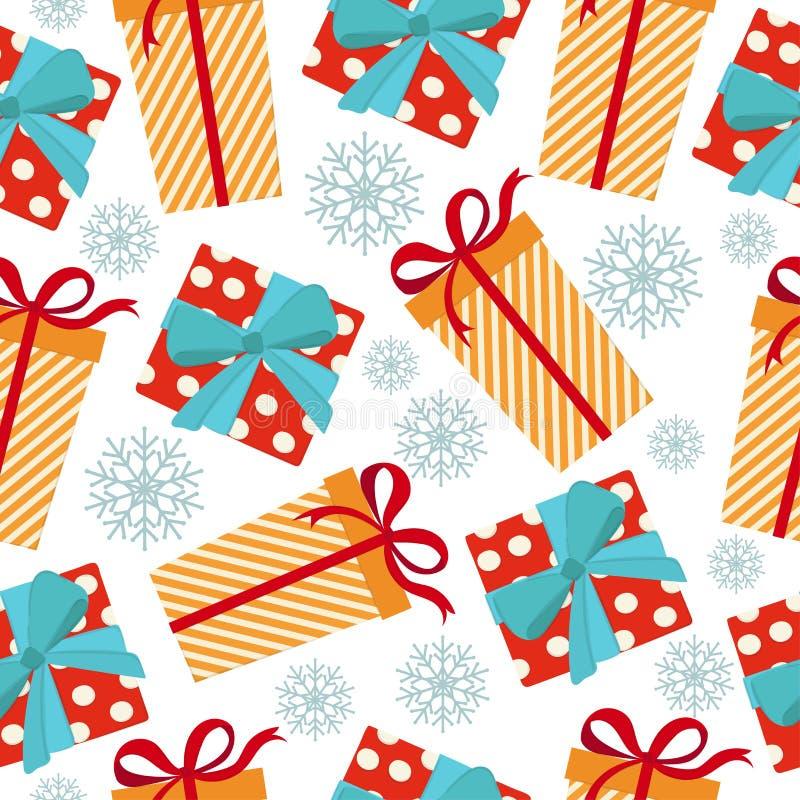 Kerstmis naadloos patroon met giftdozen stock illustratie