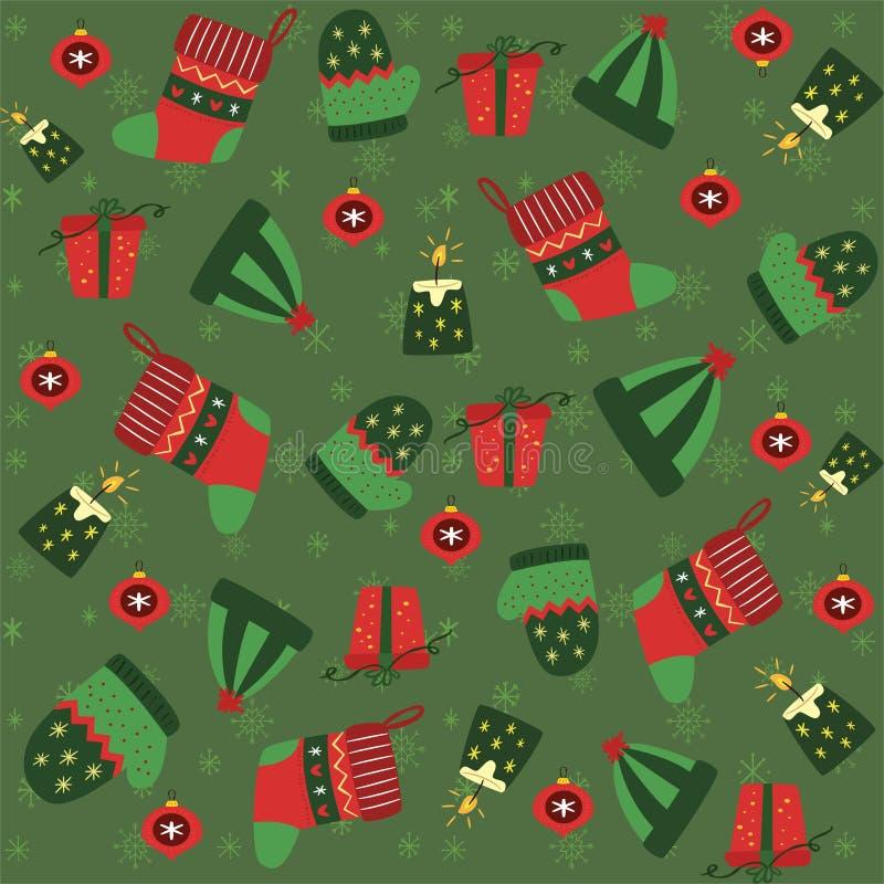 Kerstmis naadloos patroon met Kerstmisornamenten - vector vector illustratie