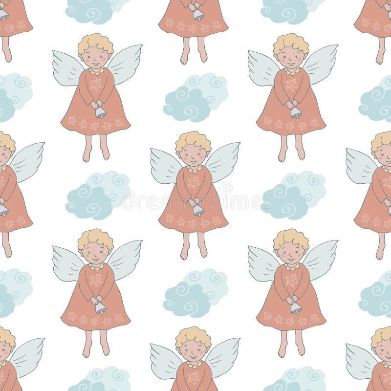 Kerstmis naadloos patroon met leuke engelen met klok vector illustratie
