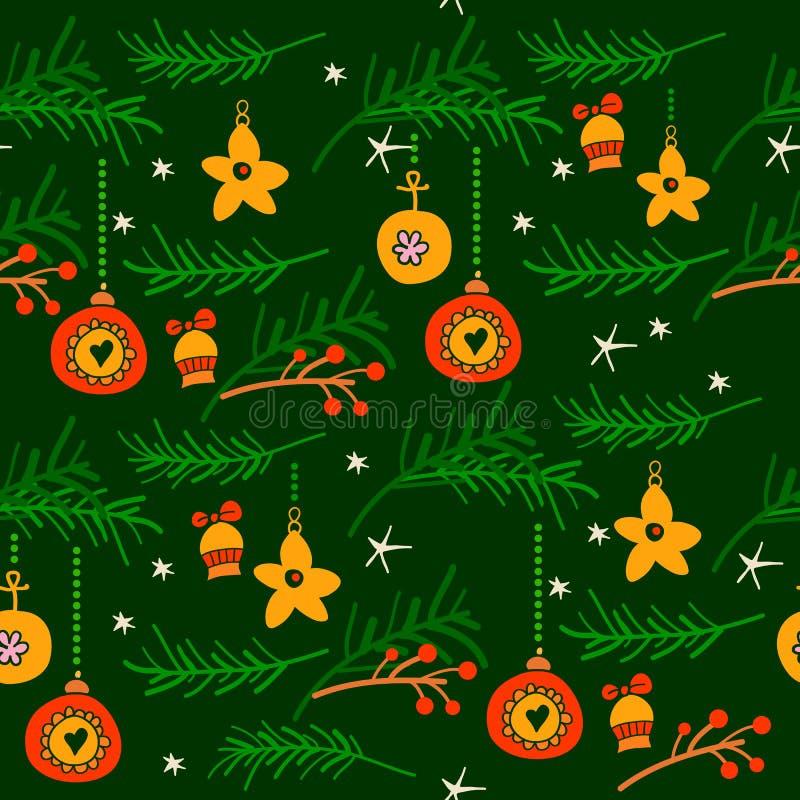 Kerstmis naadloos patroon met nette takken royalty-vrije illustratie