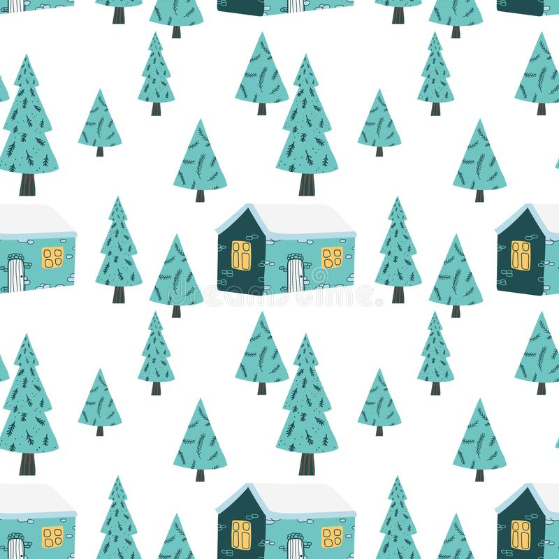 Kerstmis naadloos patroon in vector Wintertijdillustratie vector illustratie