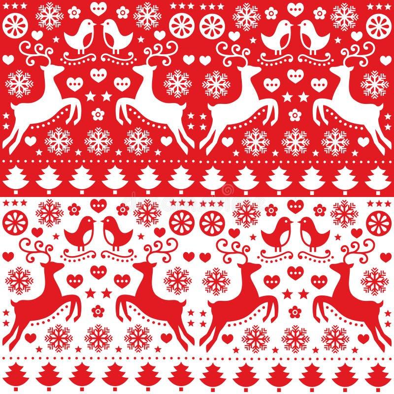 Kerstmis naadloos rood patroon met rendier - volksstijl stock illustratie