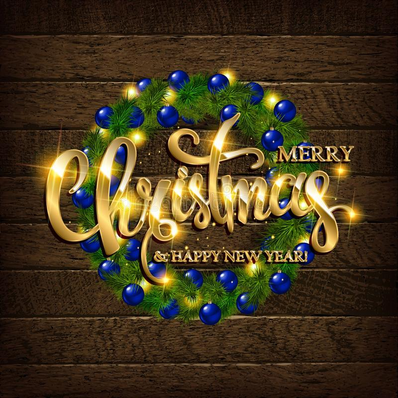 Kerstmis naaldkroon op een houten achtergrond vector illustratie