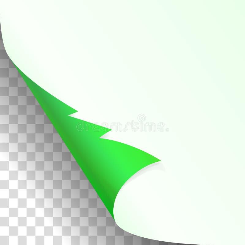 Kerstmis, nieuwe jaar groene gekrulde die hoek van Witboek met schaduw omhoog dicht model op transparante Achtergrond wordt geïso stock illustratie