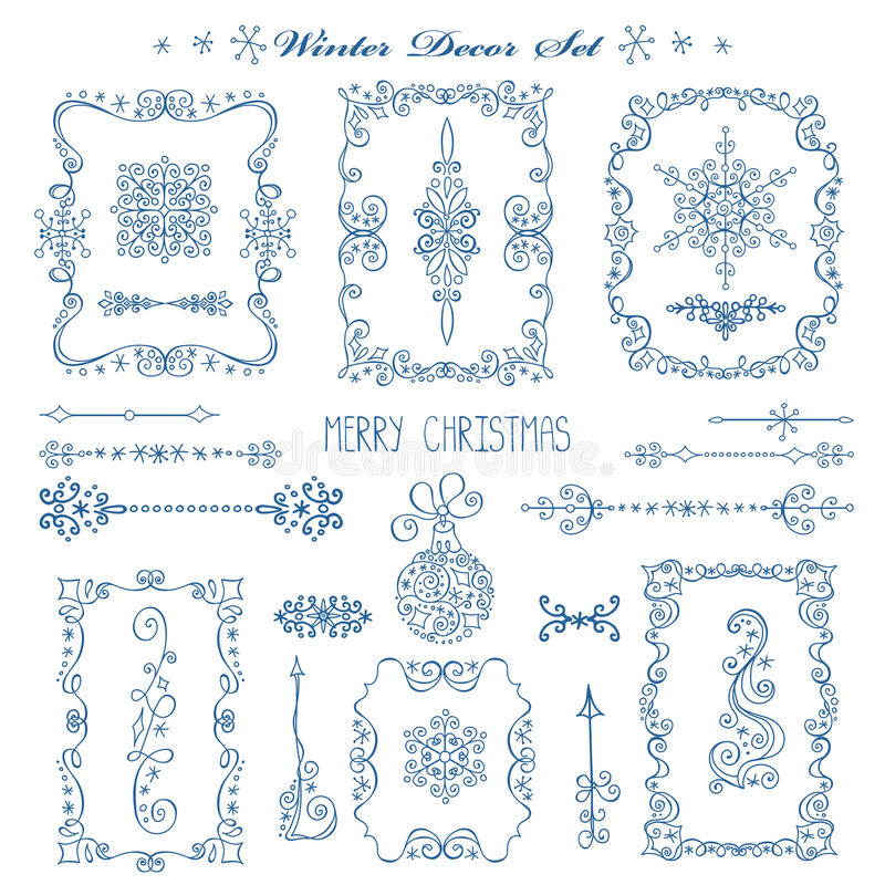 Kerstmis, Nieuwe jaarkaders, grenzen Decorreeks royalty-vrije illustratie