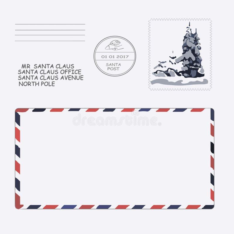 Kerstmis, Nieuwjaar Brief aan de Kerstman malplaatje, envelop, zegel Vector vector illustratie