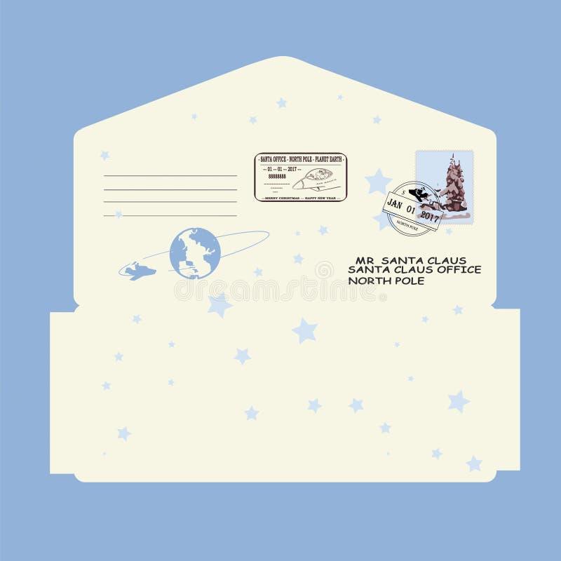 Kerstmis, Nieuwjaar Brief aan de Kerstman malplaatje, envelop, zegel Vector stock illustratie