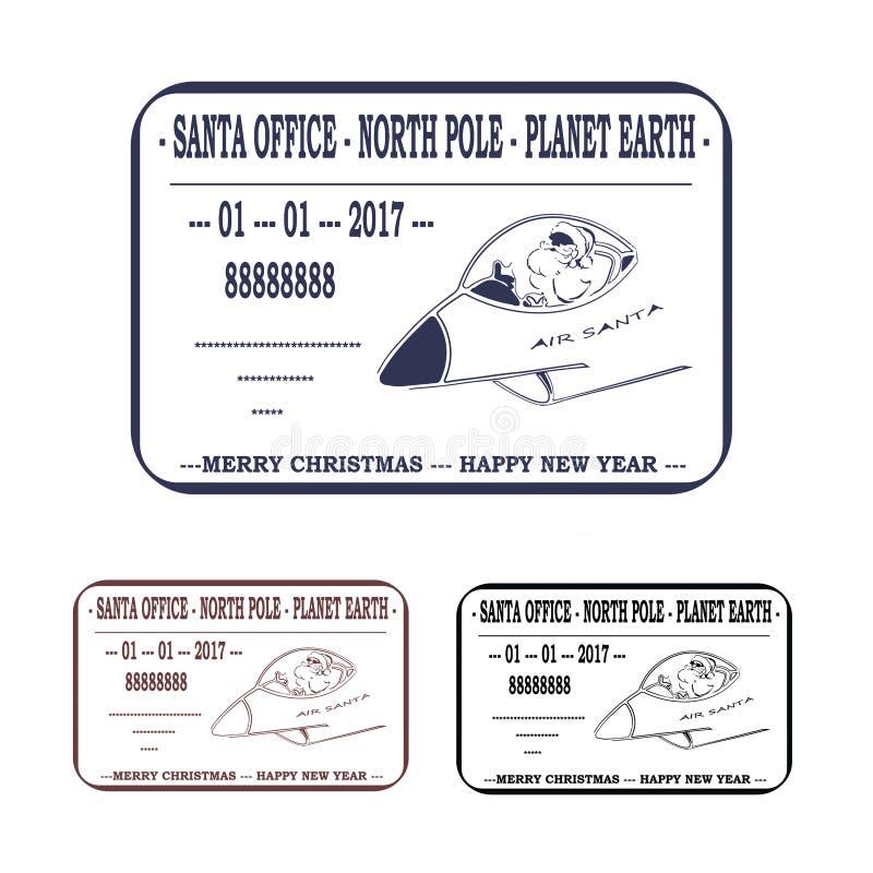 Kerstmis, Nieuwjaar Brief aan de Kerstman malplaatje, zegel Vector royalty-vrije illustratie