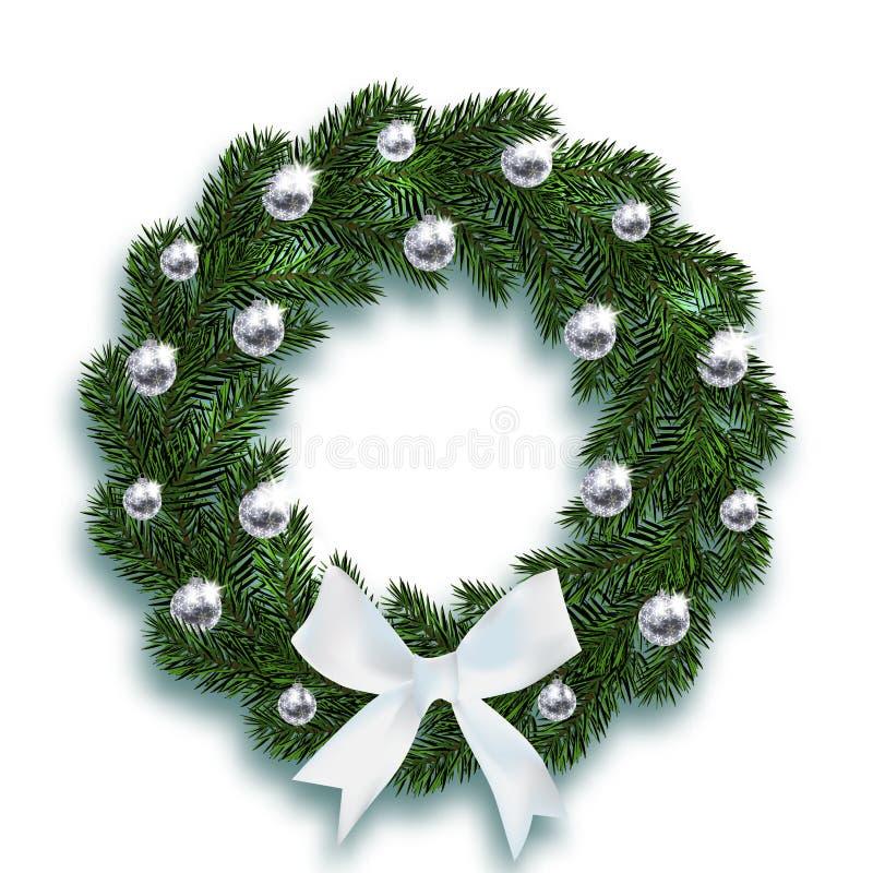Kerstmis, Nieuwjaar De blauwe spartakken in de vorm van een Kerstmiskroon met ballen en een wit buigen Op een wit royalty-vrije illustratie