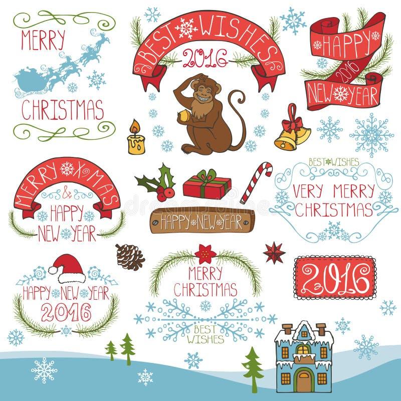 Kerstmis, Nieuwjaar 2016 decoratie, etikettenuitrusting royalty-vrije illustratie