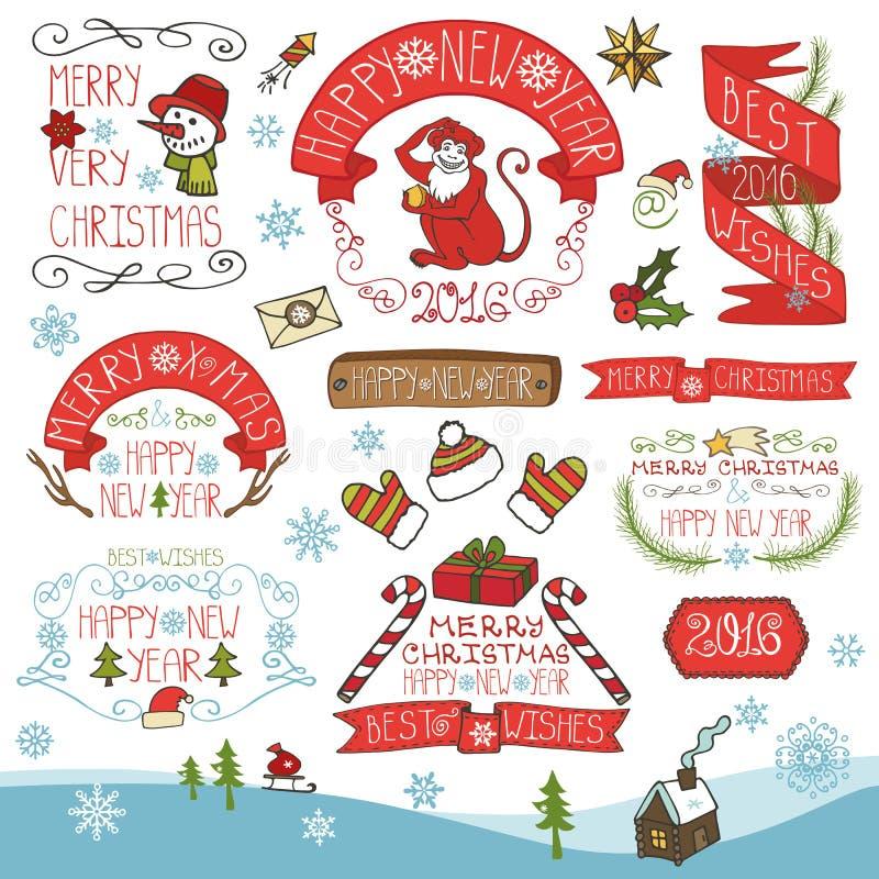 Kerstmis, Nieuwjaar 2016 decoratie, geplaatste etiketten stock illustratie