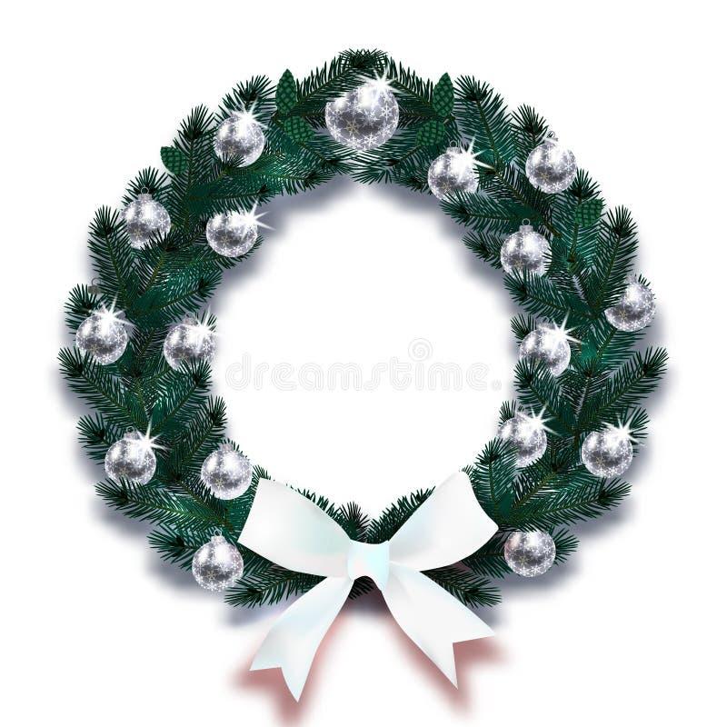 Kerstmis, Nieuwjaar Donkergroene takken van sparren in de vorm van een Kerstmiskroon met zilveren ballen en witte boog vector illustratie
