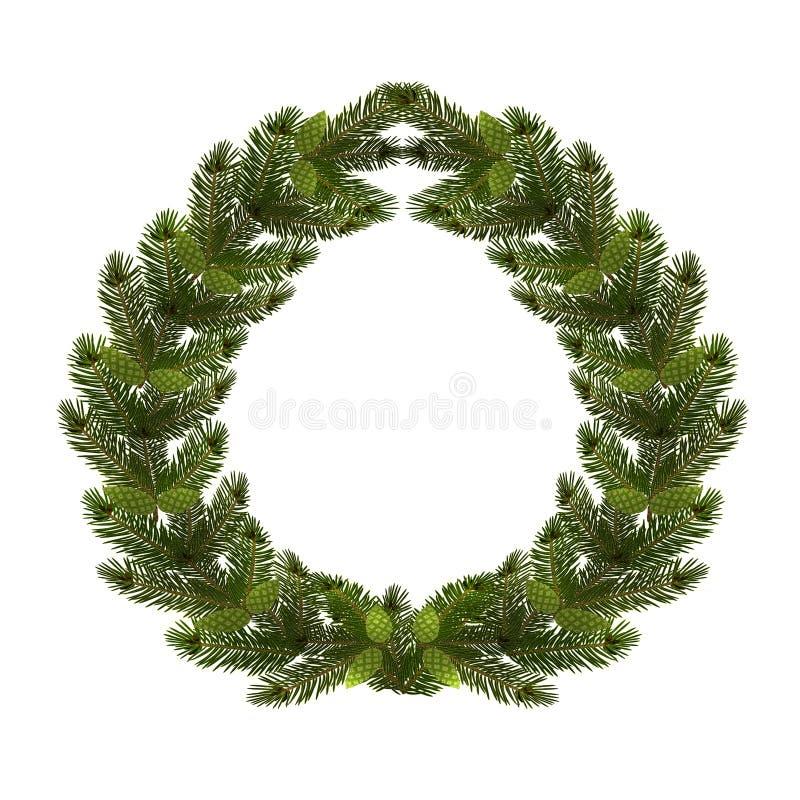Kerstmis, Nieuwjaar Een groene tak van sparren in de vorm van een Kerstmiskroon met kegels Op een witte achtergrond vector illustratie
