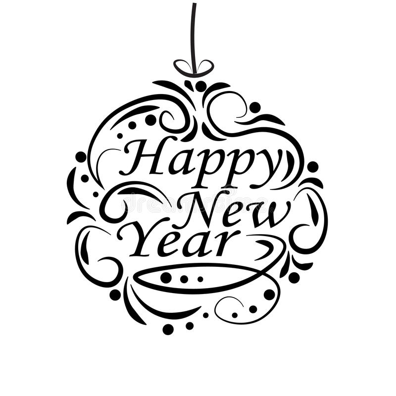 Kerstmis, Nieuwjaar feestelijk etiket voor prentbriefkaaren Het wensen van een gelukkig Nieuwjaar royalty-vrije illustratie