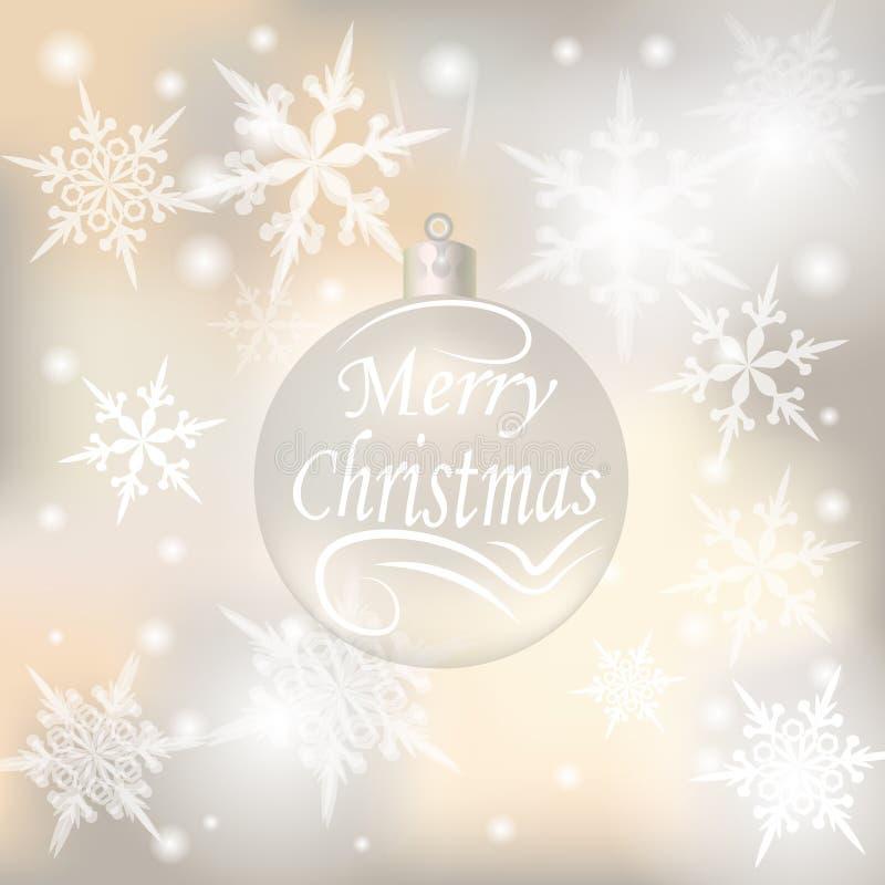 Kerstmis, Nieuwjaar feestelijke achtergrond voor groetkaarten Zilveren bal met een wens van Vrolijke Kerstmisillustraties stock illustratie