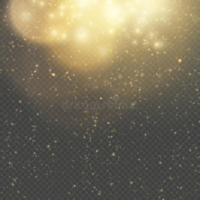 Kerstmis of Nieuwjaar gloeiende fonkelingenregen Het abstracte goud schittert ruimtenevel glanst effect De gouden laag van de sto vector illustratie