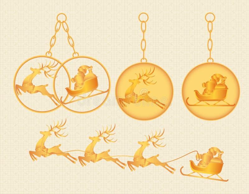 Kerstmis, Nieuwjaar Goud keychains, charmes, tegenhangers met het beeld van Santa Claus en herten Illustratie royalty-vrije illustratie