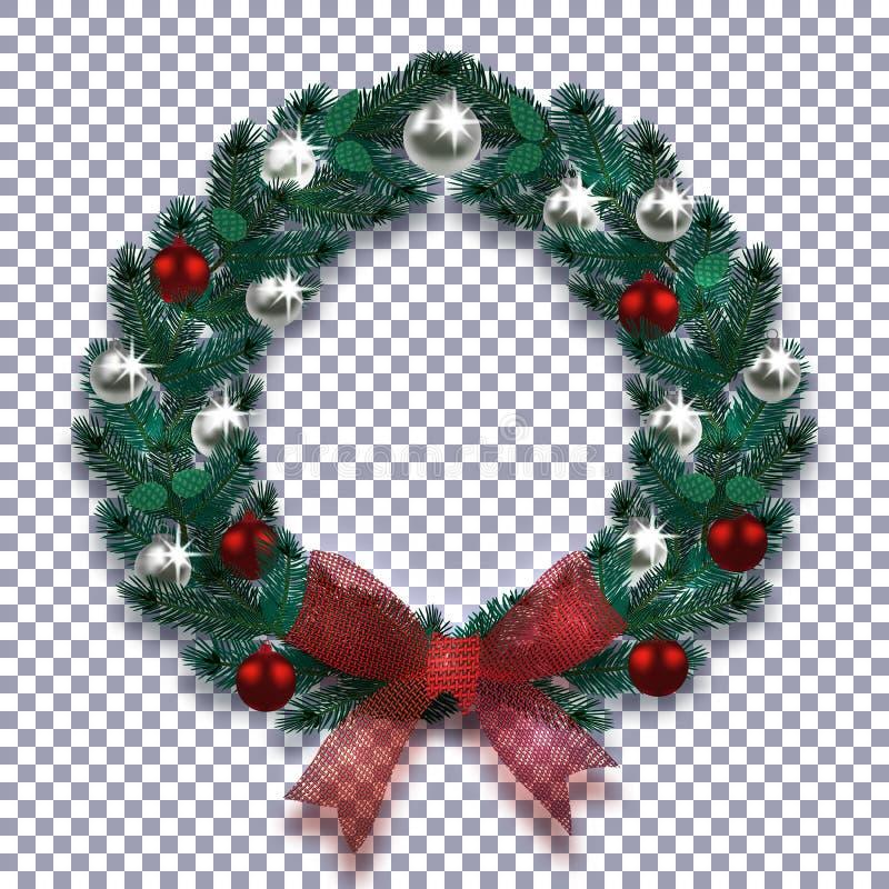 Kerstmis, Nieuwjaar Kerstmiskroon met schaduw van blauwe spar Rode boog, zilveren en rode ballen op een geruite achtergrond vector illustratie