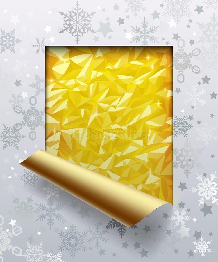 Kerstmis & Nieuwjaar` s groetkaart met gouden folieachtergrond stock illustratie