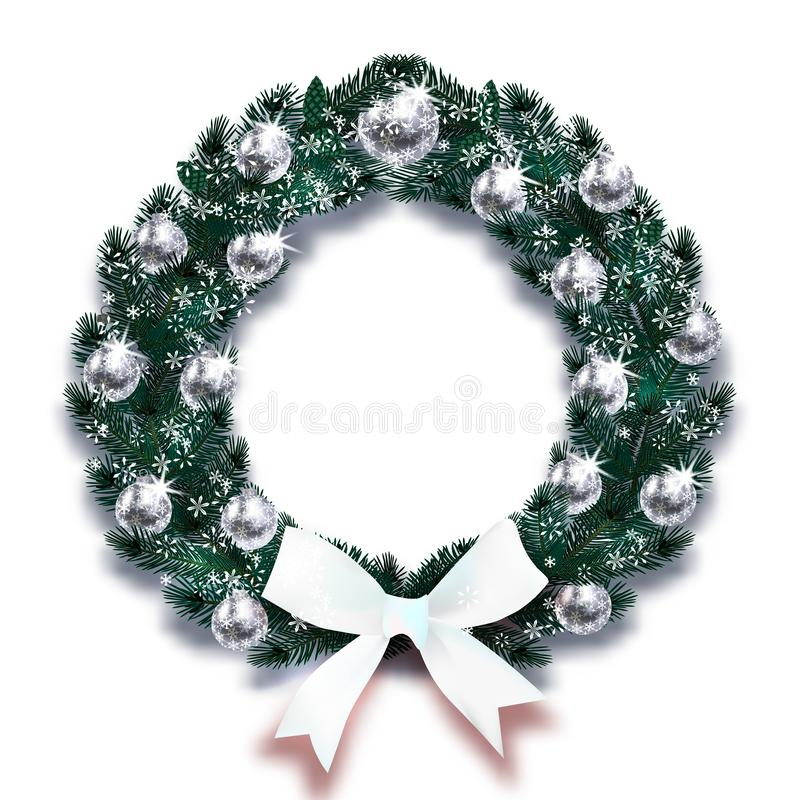 Kerstmis, Nieuwjaar Sneeuwvlokken Donkergroene takken van sparren in de vorm van een Kerstmiskroon met zilveren ballen en stock illustratie