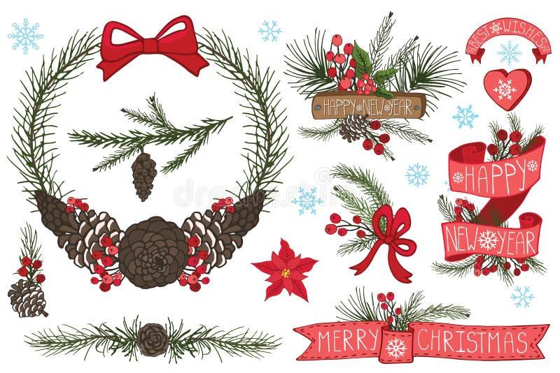 Kerstmis, Nieuwjaarkroon, grens, linten, groep stock illustratie