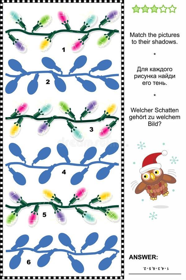 Kerstmis of Nieuwjaarschaduwspel met Kerstmislichten stock illustratie