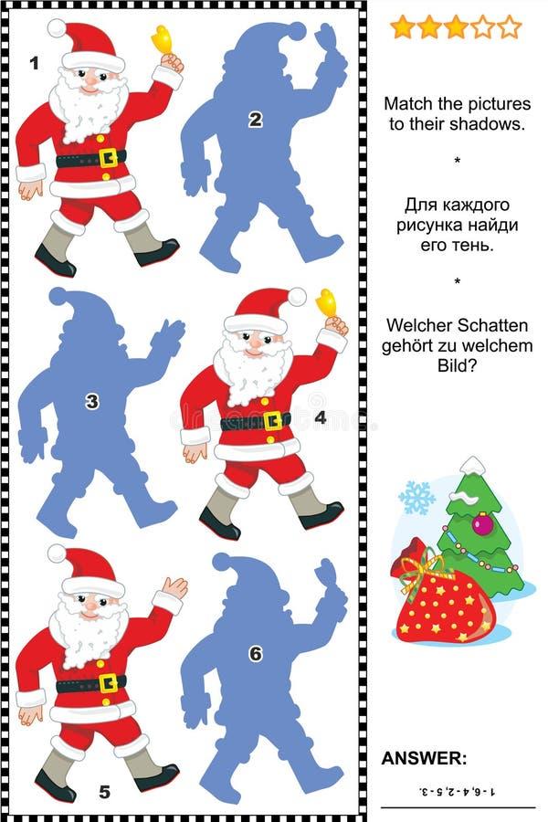Kerstmis of Nieuwjaarschaduwspel met Santa Claus royalty-vrije illustratie