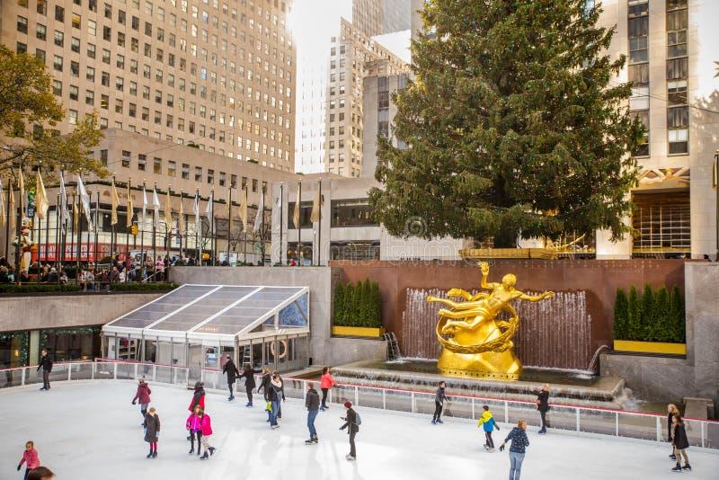 Kerstmis NYC van het Rockefellercentrum stock foto