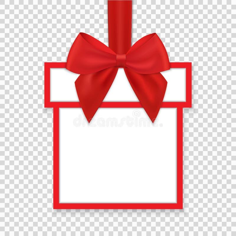 Kerstmis om document giftbanner met rode lint en boog vector illustratie