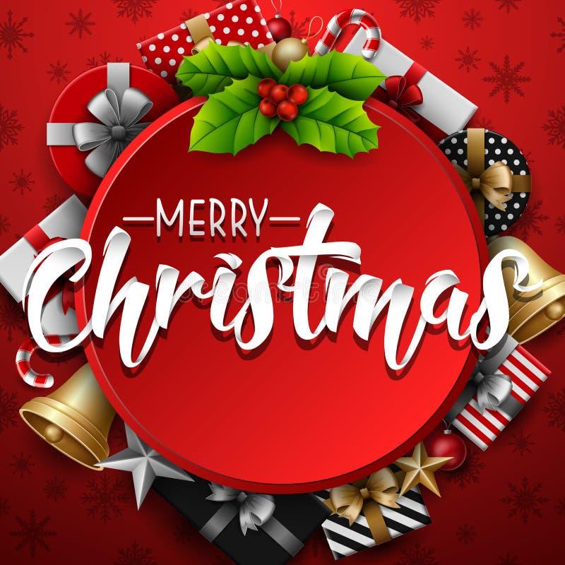 Kerstmis om kader met hulstbes en giftdoos op rode achtergrond royalty-vrije illustratie