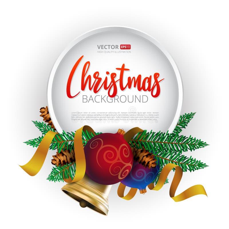 Kerstmis om kaderontwerp, realistische nieuwe de vakantiedecoratie van de jaarboom met Kerstmisballen, gouden klok en gouden lint vector illustratie