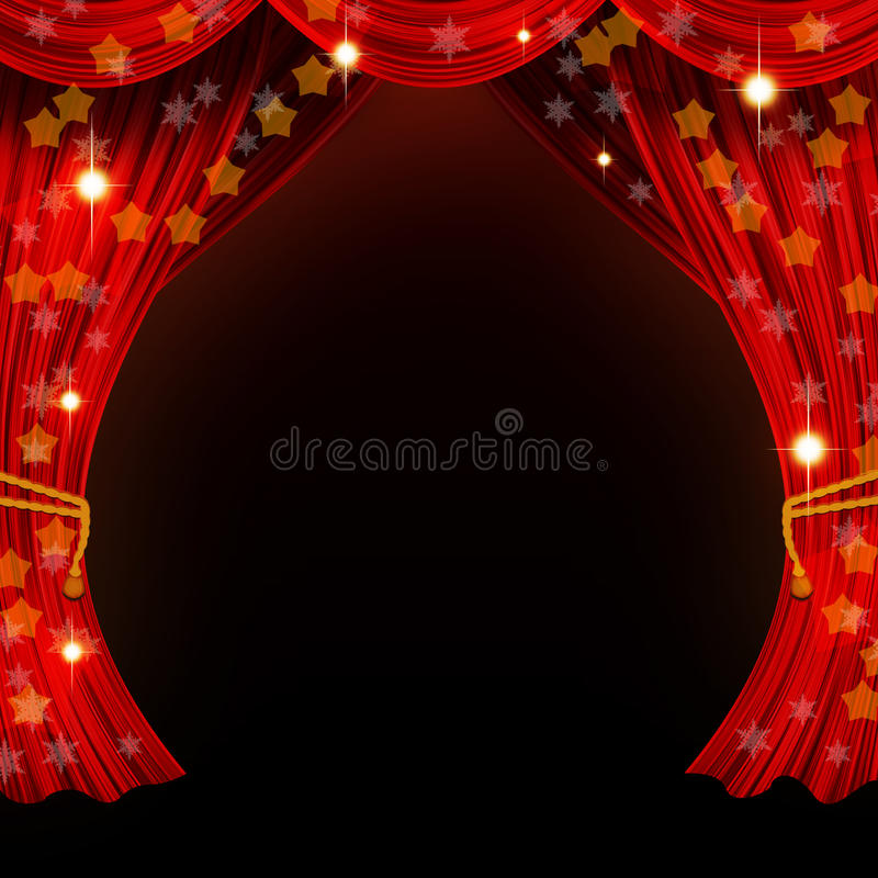 Kerstmis open gordijn royalty-vrije stock afbeelding