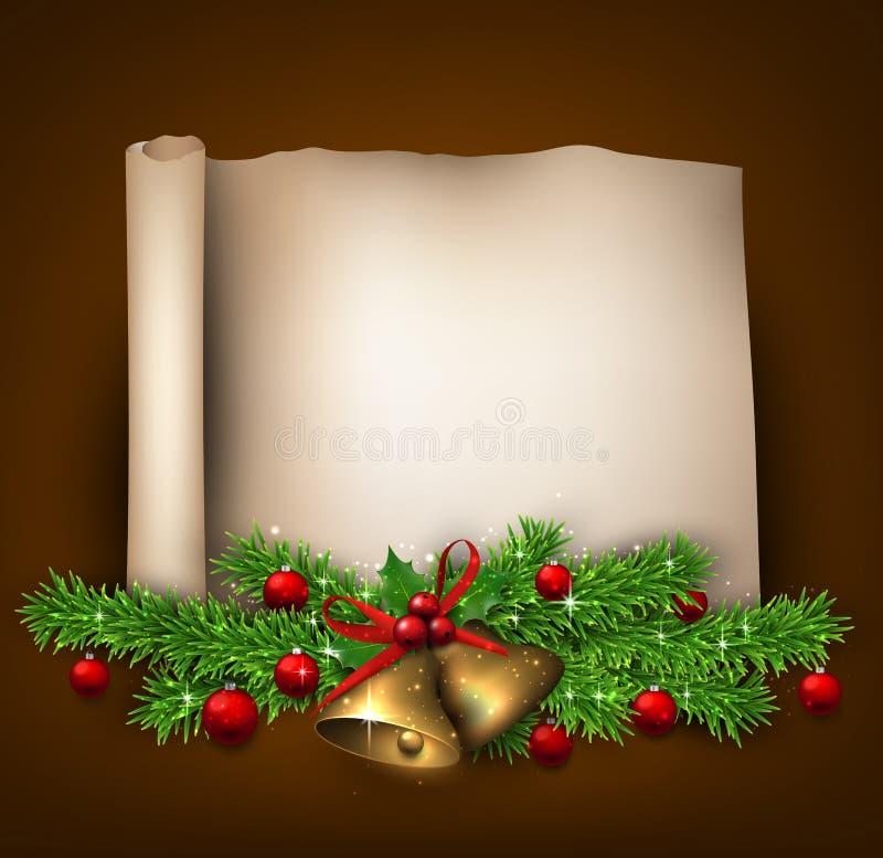 Kerstmis oude document achtergrond met spartakjes stock illustratie