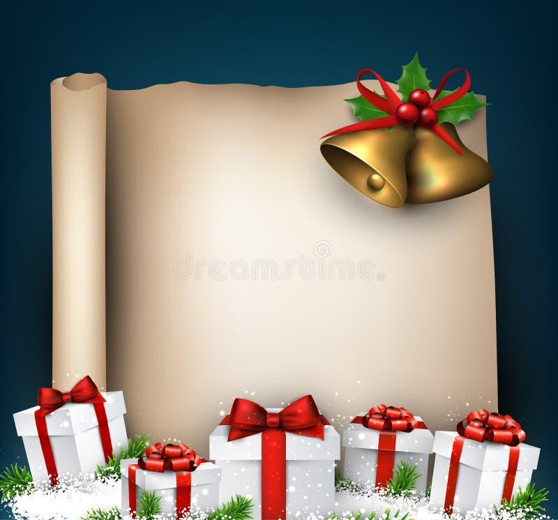 Kerstmis oude document achtergrond met spartakjes vector illustratie