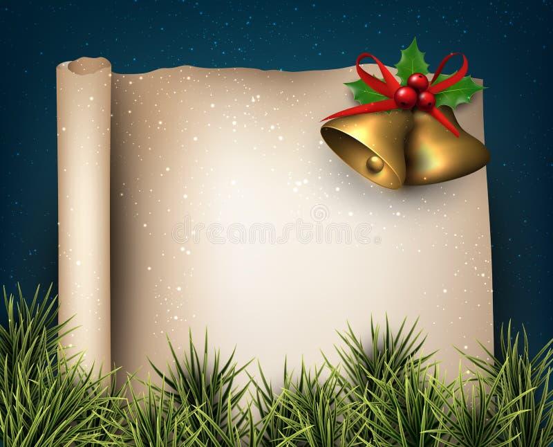 Kerstmis oude document achtergrond met spartakjes royalty-vrije illustratie