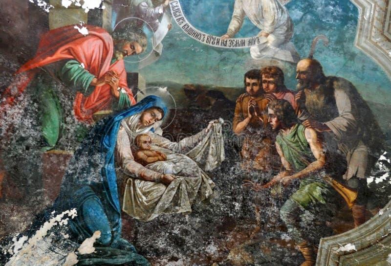 Kerstmis, oude fresko royalty-vrije stock foto