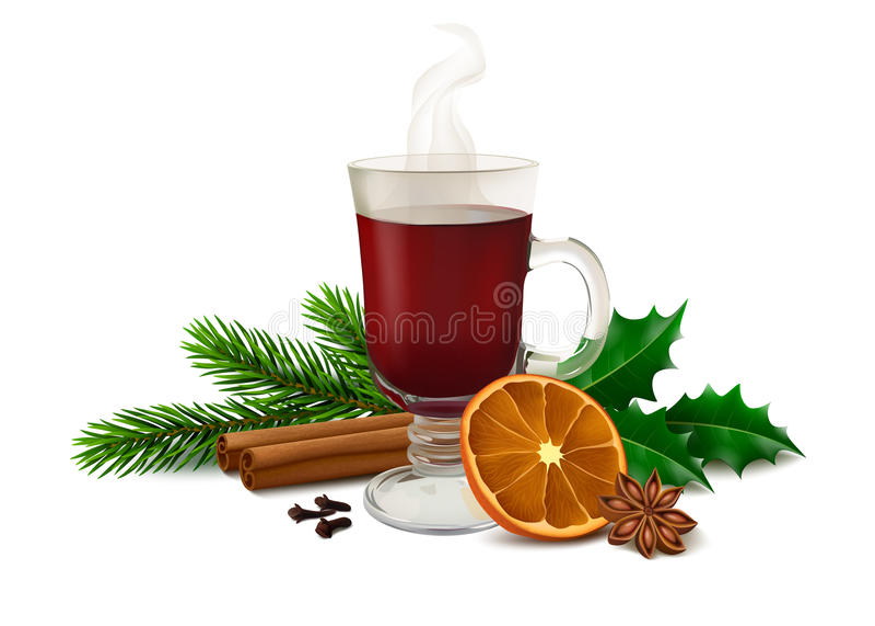 Kerstmis overwogen wijn op witte achtergrond vector illustratie
