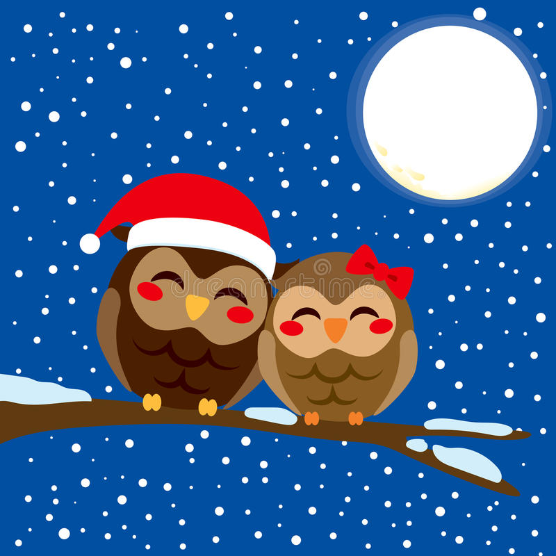 Kerstmis Owl Love royalty-vrije illustratie