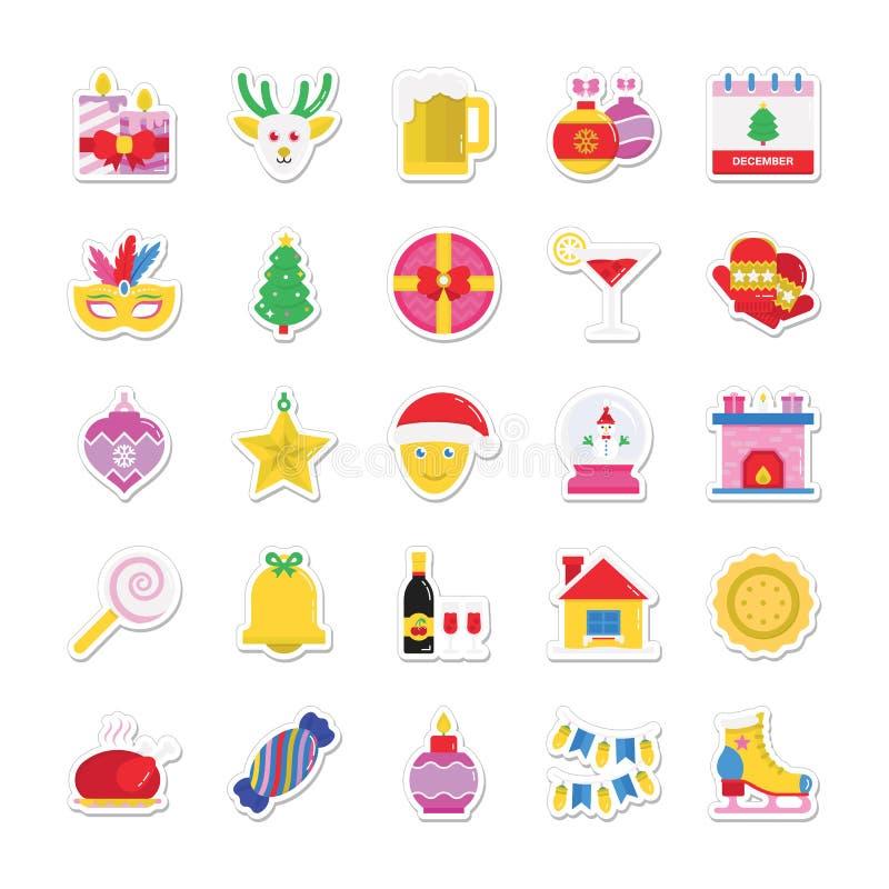 Kerstmis, Partij en Viering Gekleurde Vectorpictogrammen 2 stock illustratie