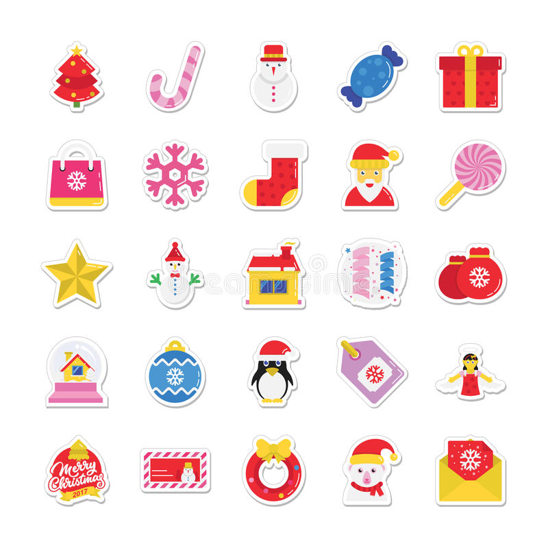 Kerstmis, Partij en Viering Gekleurde Vectorpictogrammen 1 royalty-vrije illustratie