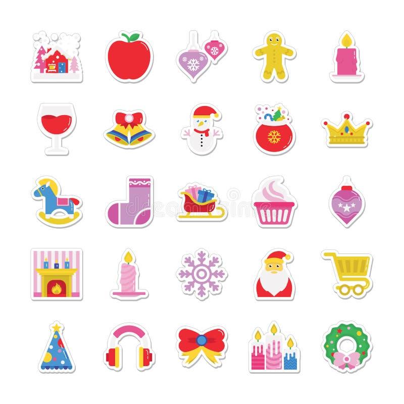 Kerstmis, Partij en Viering Gekleurde Vectorpictogrammen 3 royalty-vrije illustratie