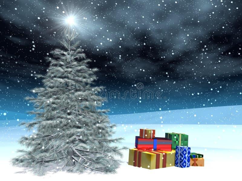 Kerstmis post-card01 royalty-vrije illustratie
