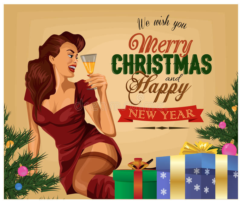 Kerstmis retro affiche Pin Up Girl met champagne stock illustratie