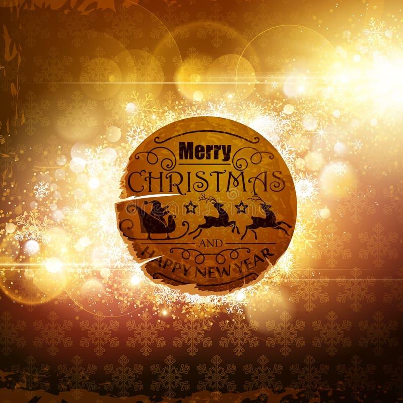 Kerstmis retro etiket royalty-vrije illustratie
